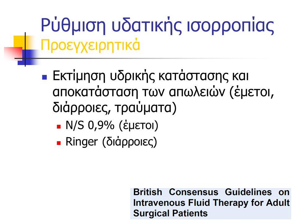 Εκτίμηση υδρικής κατάστασης και αποκατάσταση των απωλειών (έμετοι, διάρροιες, τραύματα) N/S 0,9% (έμετοι) Ringer (διάρροιες) Ρύθμιση υδατικής ισορροπίας Προεγχειρητικά