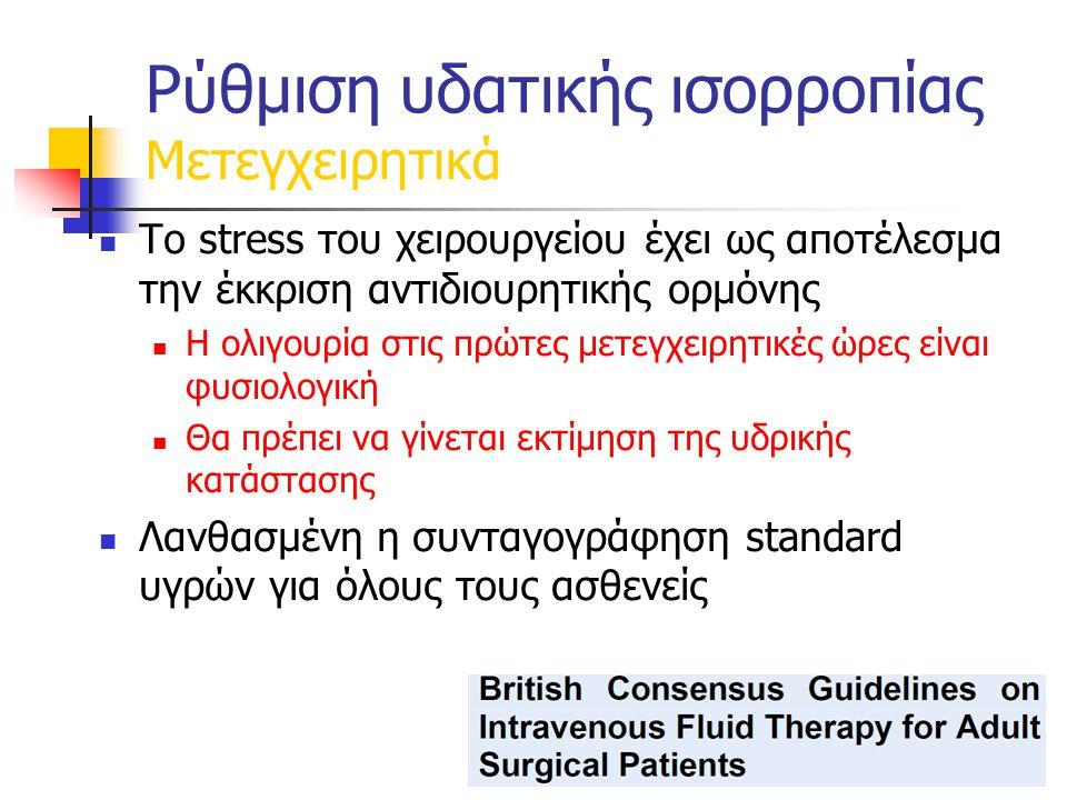 Το stress του χειρουργείου έχει ως αποτέλεσμα την έκκριση αντιδιουρητικής ορμόνης Η ολιγουρία στις πρώτες μετεγχειρητικές ώρες είναι φυσιολογική Θα πρέπει να γίνεται εκτίμηση της υδρικής κατάστασης Λανθασμένη η συνταγογράφηση standard υγρών για όλους τους ασθενείς Ρύθμιση υδατικής ισορροπίας Μετεγχειρητικά