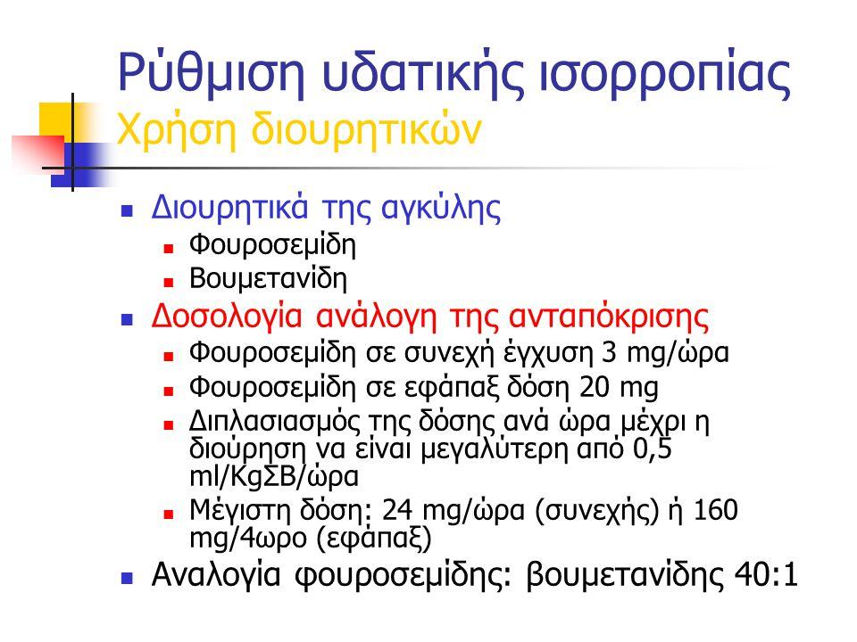 Ρύθμιση υδατικής ισορροπίας Χρήση διουρητικών Διουρητικά της αγκύλης Φουροσεμίδη Βουμετανίδη Δοσολογία ανάλογη της ανταπόκρισης Φουροσεμίδη σε συνεχή έγχυση 3 mg/ώρα Φουροσεμίδη σε εφάπαξ δόση 20 mg Διπλασιασμός της δόσης ανά ώρα μέχρι η διούρηση να είναι μεγαλύτερη από 0,5 ml/KgΣΒ/ώρα Μέγιστη δόση: 24 mg/ώρα (συνεχής) ή 160 mg/4ωρο (εφάπαξ) Αναλογία φουροσεμίδης: βουμετανίδης 40:1