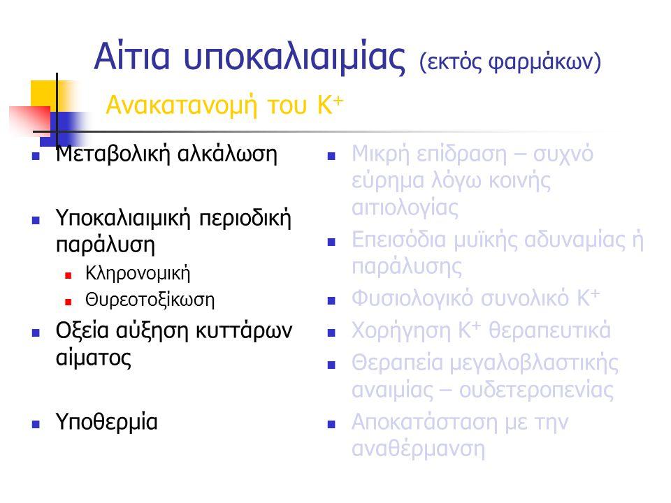 Αίτια υποκαλιαιμίας (εκτός φαρμάκων) Ανακατανομή του Κ + Μεταβολική αλκάλωση Υποκαλιαιμική περιοδική παράλυση Κληρονομική Θυρεοτοξίκωση Οξεία αύξηση κυττάρων αίματος Υποθερμία Μικρή επίδραση – συχνό εύρημα λόγω κοινής αιτιολογίας Επεισόδια μυϊκής αδυναμίας ή παράλυσης Φυσιολογικό συνολικό Κ + Χορήγηση Κ + θεραπευτικά Θεραπεία μεγαλοβλαστικής αναιμίας – ουδετεροπενίας Αποκατάσταση με την αναθέρμανση
