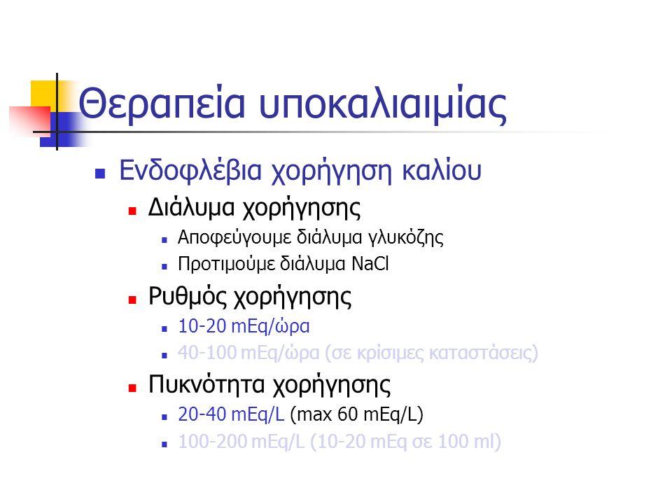 Ενδοφλέβια χορήγηση καλίου Διάλυμα χορήγησης Αποφεύγουμε διάλυμα γλυκόζης Προτιμούμε διάλυμα NaCl Ρυθμός χορήγησης 10-20 mEq/ώρα 40-100 mEq/ώρα (σε κρίσιμες καταστάσεις) Πυκνότητα χορήγησης 20-40 mEq/L (max 60 mEq/L) 100-200 mEq/L (10-20 mEq σε 100 ml) Θεραπεία υποκαλιαιμίας