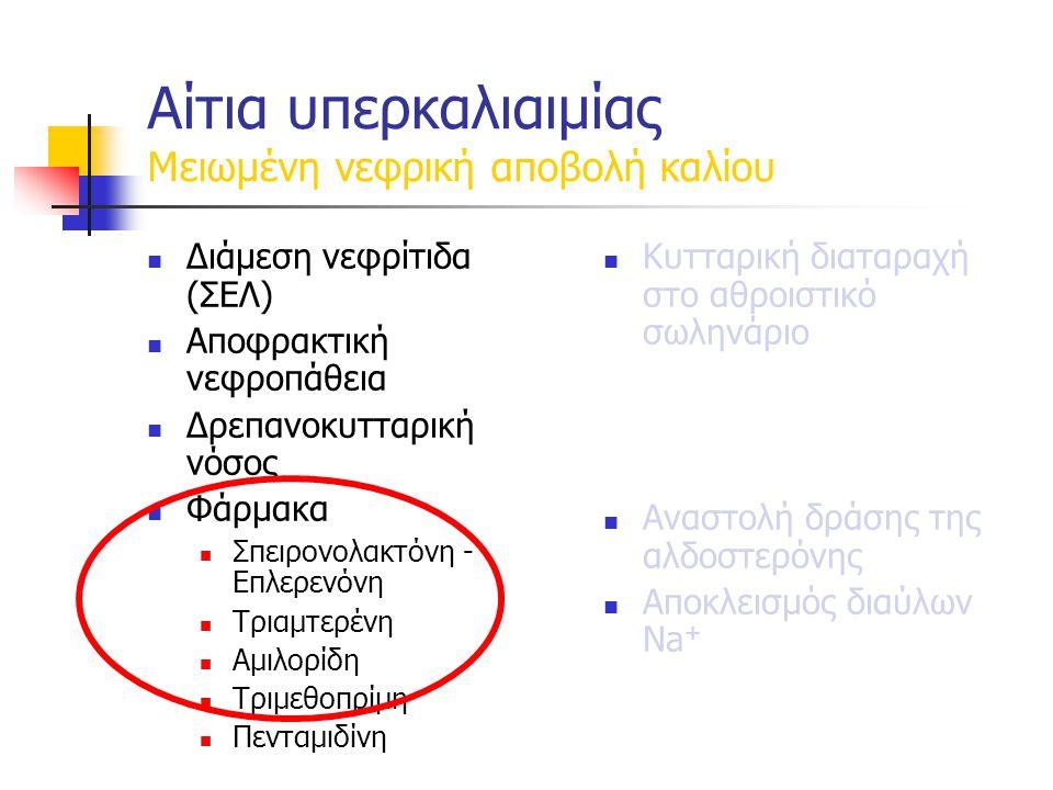 Αίτια υπερκαλιαιμίας Μειωμένη νεφρική αποβολή καλίου Διάμεση νεφρίτιδα (ΣΕΛ) Αποφρακτική νεφροπάθεια Δρεπανοκυτταρική νόσος Φάρμακα Σπειρονολακτόνη - Επλερενόνη Τριαμτερένη Αμιλορίδη Τριμεθοπρίμη Πενταμιδίνη Κυτταρική διαταραχή στο αθροιστικό σωληνάριο Αναστολή δράσης της αλδοστερόνης Αποκλεισμός διαύλων Νa +