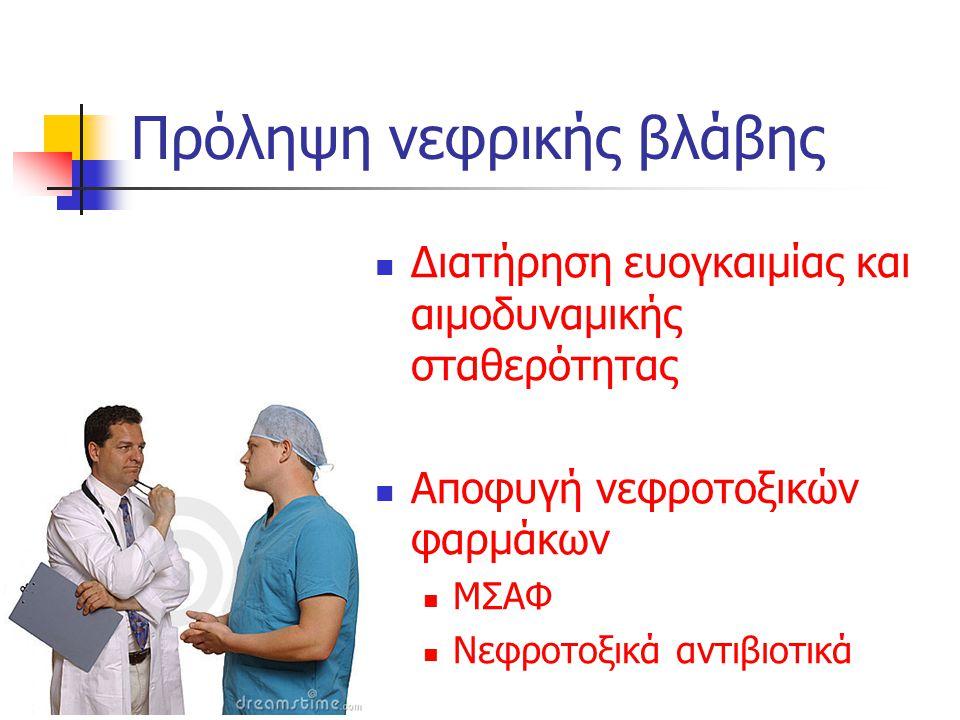 Πρόληψη νεφρικής βλάβης Διατήρηση ευογκαιμίας και αιμοδυναμικής σταθερότητας Αποφυγή νεφροτοξικών φαρμάκων ΜΣΑΦ Νεφροτοξικά αντιβιοτικά