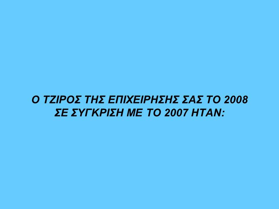 Ο ΤΖΙΡΟΣ ΤΗΣ ΕΠΙΧΕΙΡΗΣΗΣ ΣΑΣ ΤΟ 2008 ΣΕ ΣΥΓΚΡΙΣΗ ΜΕ ΤΟ 2007 ΗΤΑΝ:
