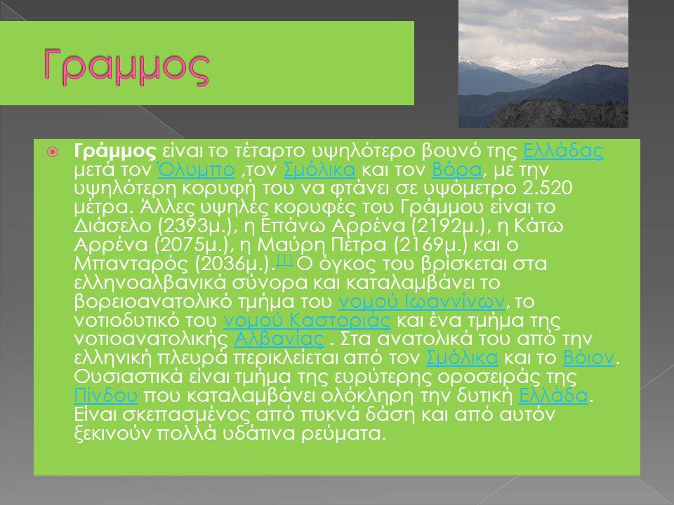  Γράμμος είναι το τέταρτο υψηλότερο βουνό της Ελλάδας μετά τον Όλυμπο,τον Σμόλικα και τον Βόρα, με την υψηλότερη κορυφή του να φτάνει σε υψόμετρο 2.5