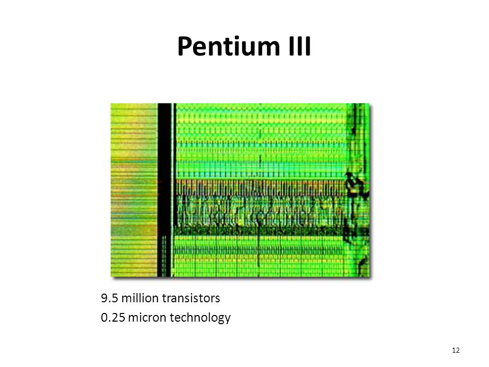 Pentium III 9.5 million transistors 0.25 micron technology 12