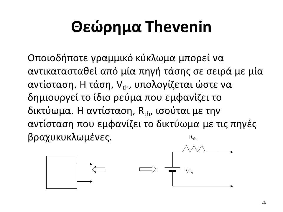 Θεώρημα Thevenin Οποιοδήποτε γραμμικό κύκλωμα μπορεί να αντικατασταθεί από μία πηγή τάσης σε σειρά με μία αντίσταση.