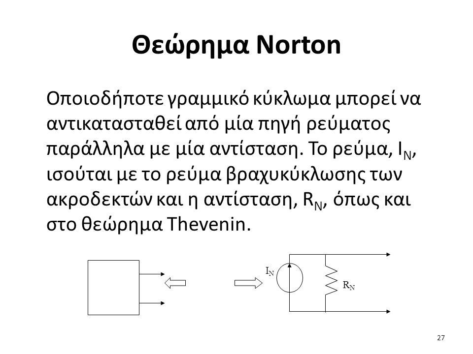 Θεώρημα Norton Οποιοδήποτε γραμμικό κύκλωμα μπορεί να αντικατασταθεί από μία πηγή ρεύματος παράλληλα με μία αντίσταση.