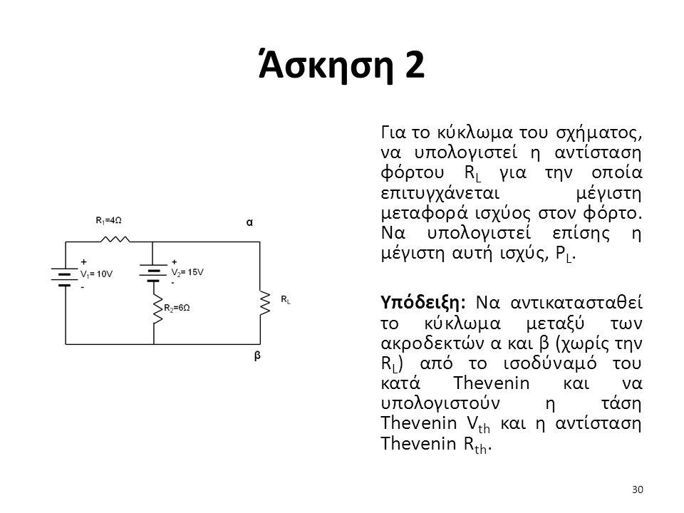 Άσκηση 2 Για το κύκλωμα του σχήματος, να υπολογιστεί η αντίσταση φόρτου R L για την οποία επιτυγχάνεται μέγιστη μεταφορά ισχύος στον φόρτο.