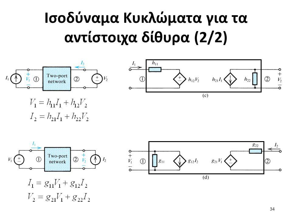 Ισοδύναμα Κυκλώματα για τα αντίστοιχα δίθυρα (2/2) 34