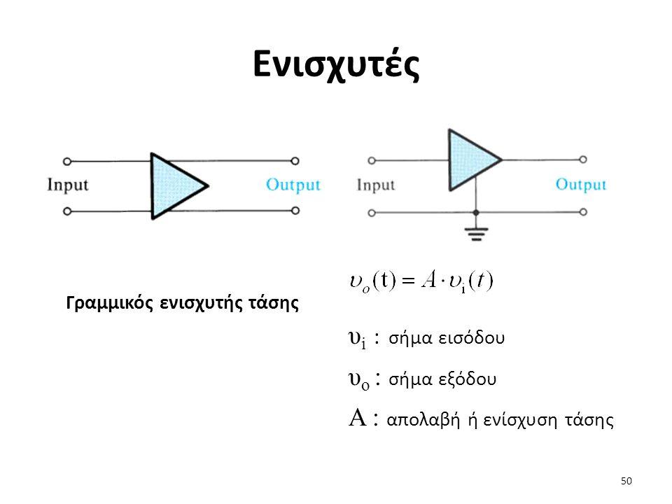Ενισχυτές Γραμμικός ενισχυτής τάσης υ i : σήμα εισόδου υ o : σήμα εξόδου A : απολαβή ή ενίσχυση τάσης 50