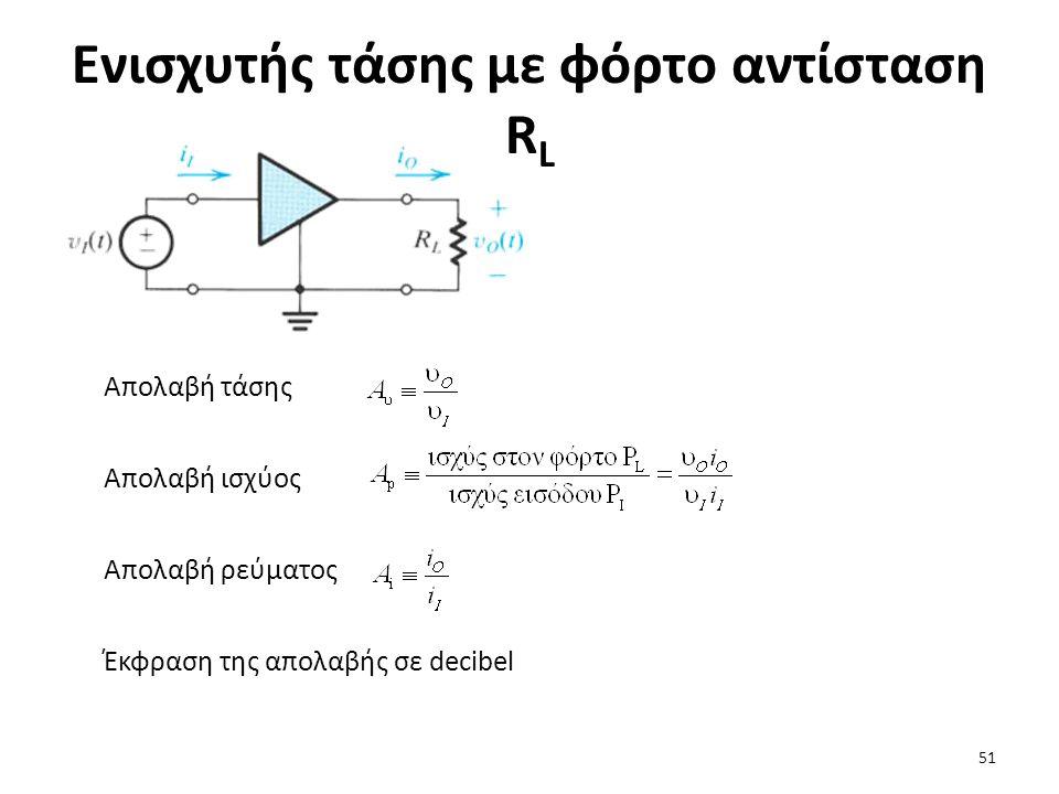 Ενισχυτής τάσης με φόρτο αντίσταση R L Απολαβή τάσης Απολαβή ισχύος Απολαβή ρεύματος Έκφραση της απολαβής σε decibel 51