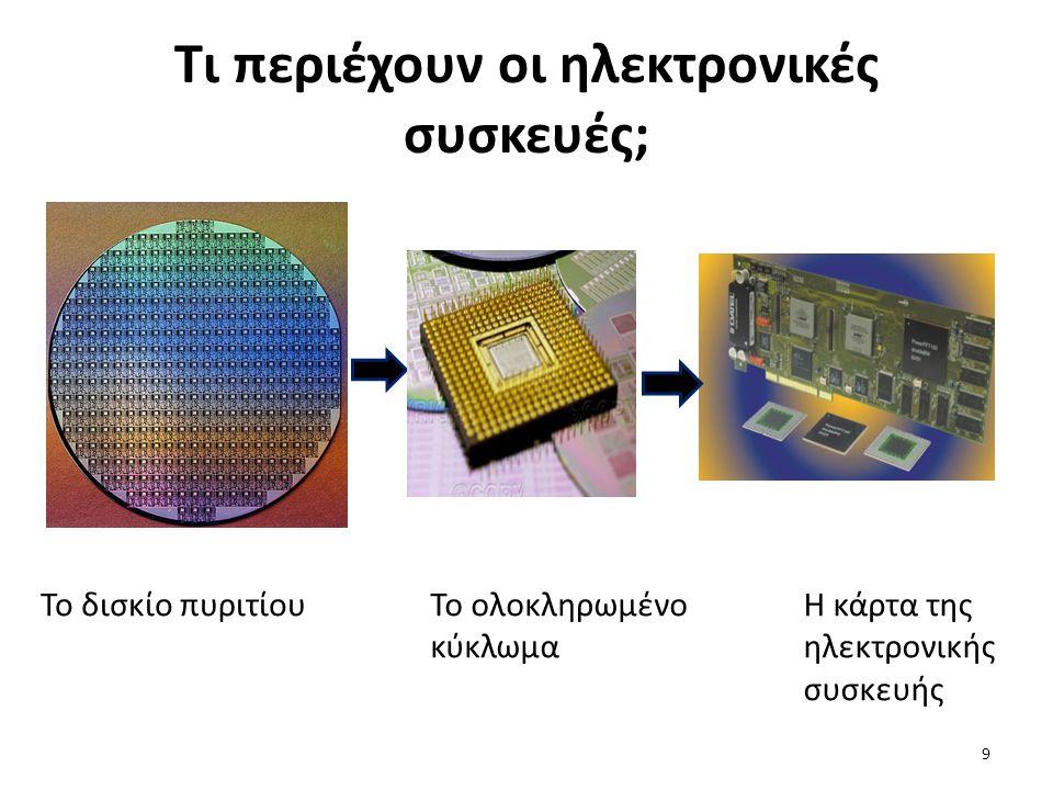 Tι περιέχουν οι ηλεκτρονικές συσκευές; Το δισκίο πυριτίουΤο ολοκληρωμένο κύκλωμα Η κάρτα της ηλεκτρονικής συσκευής 9
