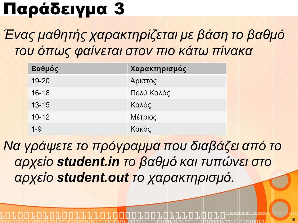 Παράδειγμα 3 Ένας μαθητής χαρακτηρίζεται με βάση το βαθμό του όπως φαίνεται στον πιο κάτω πίνακα Να γράψετε το πρόγραμμα που διαβάζει από το αρχείο student.in το βαθμό και τυπώνει στο αρχείο student.out το χαρακτηρισμό.