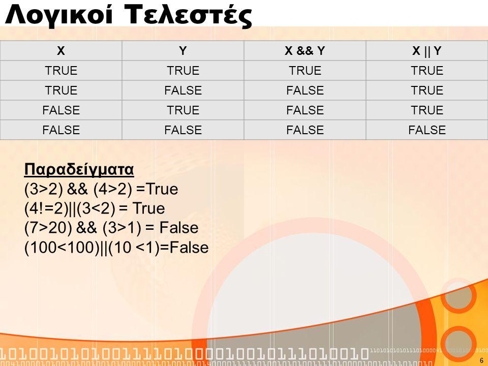 Λογικοί Τελεστές Ο τελεστής not Λειτουργεί σαν αντιστροφέας. !(5>2)=false !(5<2)=true 7