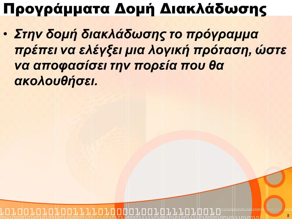 Σύνταξη εντολής if if(λογική πρόταση){ εντολές } Else { εντολές } Σημείωση: Σε περίπτωση που έχουμε μόνο μια εντολή οι αγκύλες μπορούν να παραβλέπονται.