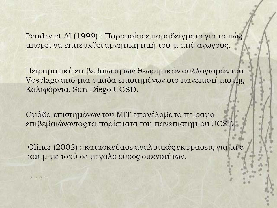 Pendry et.Al (1999) : Παρουσίασε παραδείγματα για το πώς μπορεί να επιτευχθεί αρνητική τιμή του μ από αγωγούς. Πειραματική επιβεβαίωση των θεωρητικών