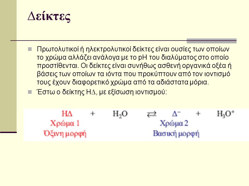 ∆είκτες Πρωτολυτικοί ή ηλεκτρολυτικοί δείκτες είναι ουσίες των οποίων το χρώμα αλλάζει ανάλογα με το pH του διαλύματος στο οποίο προστίθενται. Οι δείκ