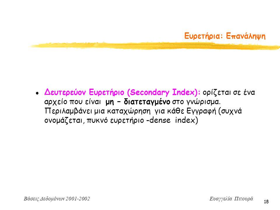 Βάσεις Δεδομένων 2001-2002 Ευαγγελία Πιτουρά 18 l Δευτερεύον Ευρετήριο (Secondary Index): ορίζεται σε ένα αρχείο που είναι μη – διατεταγμένο στο γνώρι