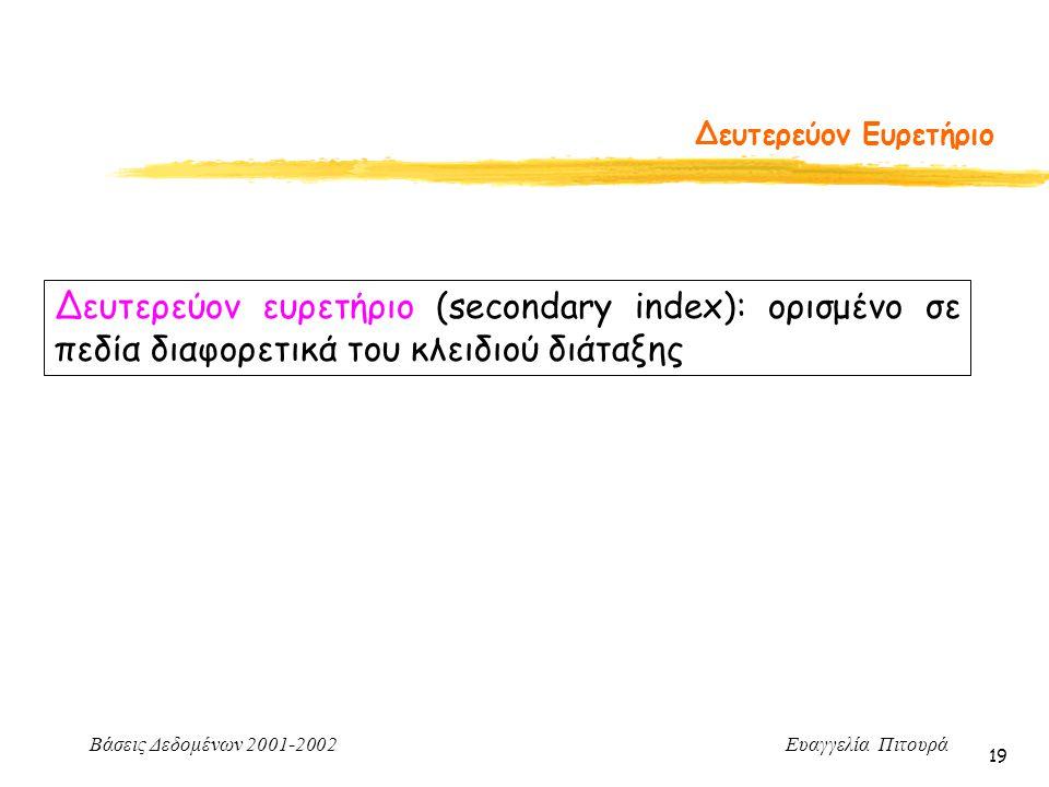 Βάσεις Δεδομένων 2001-2002 Ευαγγελία Πιτουρά 19 Δευτερεύον Ευρετήριο Δευτερεύον ευρετήριο (secondary index): ορισμένο σε πεδία διαφορετικά του κλειδιού διάταξης