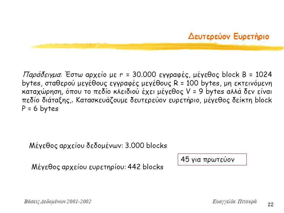 Βάσεις Δεδομένων 2001-2002 Ευαγγελία Πιτουρά 22 Δευτερεύον Ευρετήριο Παράδειγμα: Έστω αρχείο με r = 30.000 εγγραφές, μέγεθος block B = 1024 bytes, σταθερού μεγέθους εγγραφές μεγέθους R = 100 bytes, μη εκτεινόμενη καταχώρηση, όπου το πεδίο κλειδιού έχει μέγεθος V = 9 bytes αλλά δεν είναι πεδίο διάταξης,.
