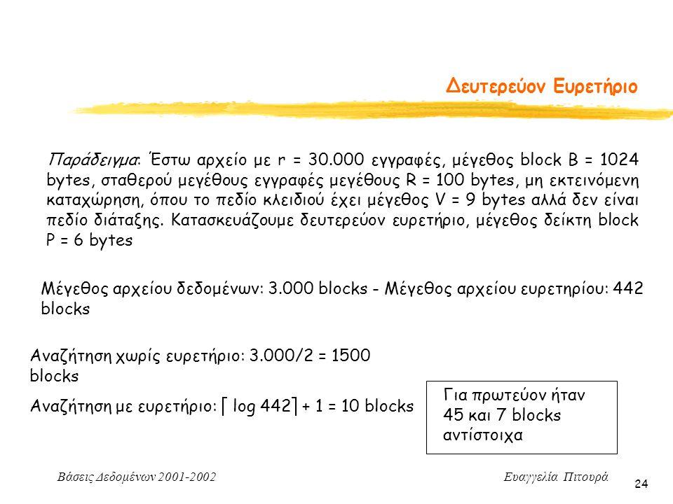 Βάσεις Δεδομένων 2001-2002 Ευαγγελία Πιτουρά 24 Δευτερεύον Ευρετήριο Μέγεθος αρχείου δεδομένων: 3.000 blocks - Μέγεθος αρχείου ευρετηρίου: 442 blocks Αναζήτηση χωρίς ευρετήριο: 3.000/2 = 1500 blocks Αναζήτηση με ευρετήριο:  log 442  + 1 = 10 blocks Παράδειγμα: Έστω αρχείο με r = 30.000 εγγραφές, μέγεθος block B = 1024 bytes, σταθερού μεγέθους εγγραφές μεγέθους R = 100 bytes, μη εκτεινόμενη καταχώρηση, όπου το πεδίο κλειδιού έχει μέγεθος V = 9 bytes αλλά δεν είναι πεδίο διάταξης.