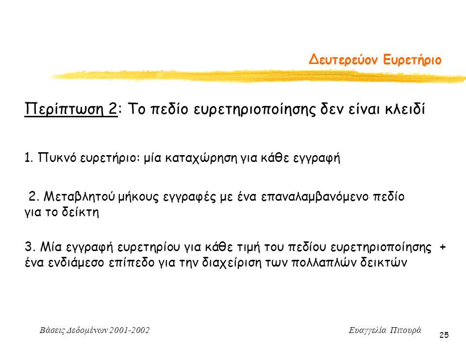 Βάσεις Δεδομένων 2001-2002 Ευαγγελία Πιτουρά 25 Δευτερεύον Ευρετήριο Περίπτωση 2: Το πεδίο ευρετηριοποίησης δεν είναι κλειδί 1. Πυκνό ευρετήριο: μία κ
