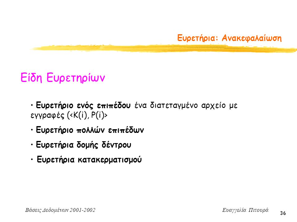 Βάσεις Δεδομένων 2001-2002 Ευαγγελία Πιτουρά 36 Ευρετήρια: Ανακεφαλαίωση Είδη Ευρετηρίων Ευρετήριο ενός επιπέδου ένα διατεταγμένο αρχείο με εγγραφές ( Ευρετήριο πολλών επιπέδων Ευρετήρια δομής δέντρου Ευρετήρια κατακερματισμού