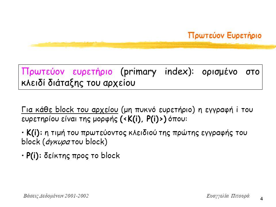Βάσεις Δεδομένων 2001-2002 Ευαγγελία Πιτουρά 4 Πρωτεύον Ευρετήριο Πρωτεύον ευρετήριο (primary index): ορισμένο στο κλειδί διάταξης του αρχείου Για κάθε block του αρχείου (μη πυκνό ευρετήριο) η εγγραφή i του ευρετηρίου είναι της μορφής ( ) όπου: Κ(i): η τιμή του πρωτεύοντος κλειδιού της πρώτης εγγραφής του block (άγκυρα του block) P(i): δείκτης προς το block