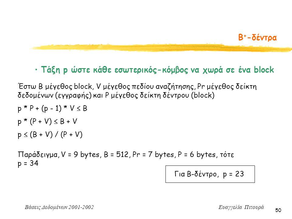 Βάσεις Δεδομένων 2001-2002 Ευαγγελία Πιτουρά 50 Β + -δέντρα Τάξη p ώστε κάθε εσωτερικός-κόμβος να χωρά σε ένα block Έστω Β μέγεθος block, V μέγεθος πεδίου αναζήτησης, Pr μέγεθος δείκτη δεδομένων (εγγραφής) και P μέγεθος δείκτη δέντρου (block) p * P + (p - 1) * V  B p * (P + V)  B + V p  (B + V) / (P + V) Παράδειγμα, V = 9 bytes, B = 512, Pr = 7 bytes, P = 6 bytes, τότε p = 34 Για Β-δέντρο, p = 23