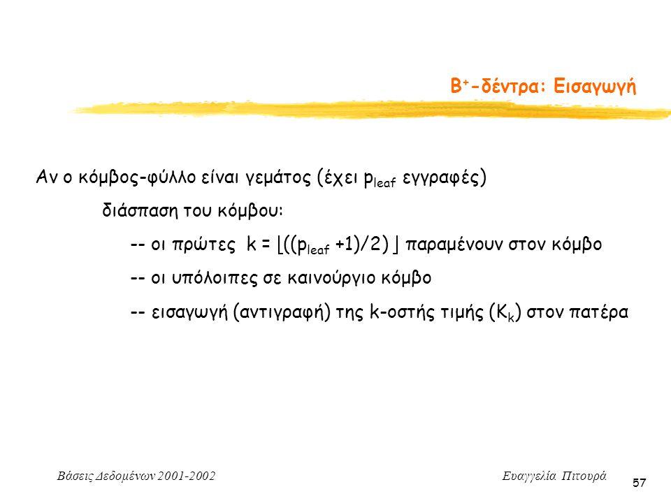 Βάσεις Δεδομένων 2001-2002 Ευαγγελία Πιτουρά 57 Β + -δέντρα: Εισαγωγή Αν ο κόμβος-φύλλο είναι γεμάτος (έχει p leaf εγγραφές) διάσπαση του κόμβου: -- οι πρώτες k =  ((p leaf +1)/2)  παραμένουν στον κόμβο -- οι υπόλοιπες σε καινούργιο κόμβο -- εισαγωγή (αντιγραφή) της k-οστής τιμής (K k ) στον πατέρα