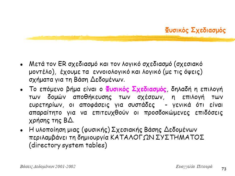 Βάσεις Δεδομένων 2001-2002 Ευαγγελία Πιτουρά 73 l Μετά τον ER σχεδιασμό και τον λογικό σχεδιασμό (σχεσιακό μοντέλο), έχουμε τα εννοιολογικό και λογικό