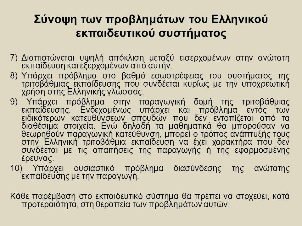 Σύνοψη των προβλημάτων του Ελληνικού εκπαιδευτικού συστήματος 7) Διαπιστώνεται υψηλή απόκλιση μεταξύ εισερχομένων στην ανώτατη εκπαίδευση και εξερχομέ
