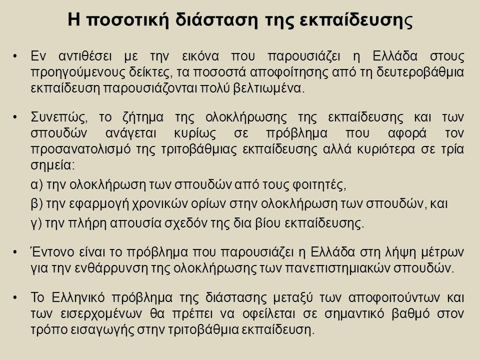 Η ποσοτική διάσταση της εκπαίδευσης Εν αντιθέσει με την εικόνα που παρουσιάζει η Ελλάδα στους προηγούμενους δείκτες, τα ποσοστά αποφοίτησης από τη δευ