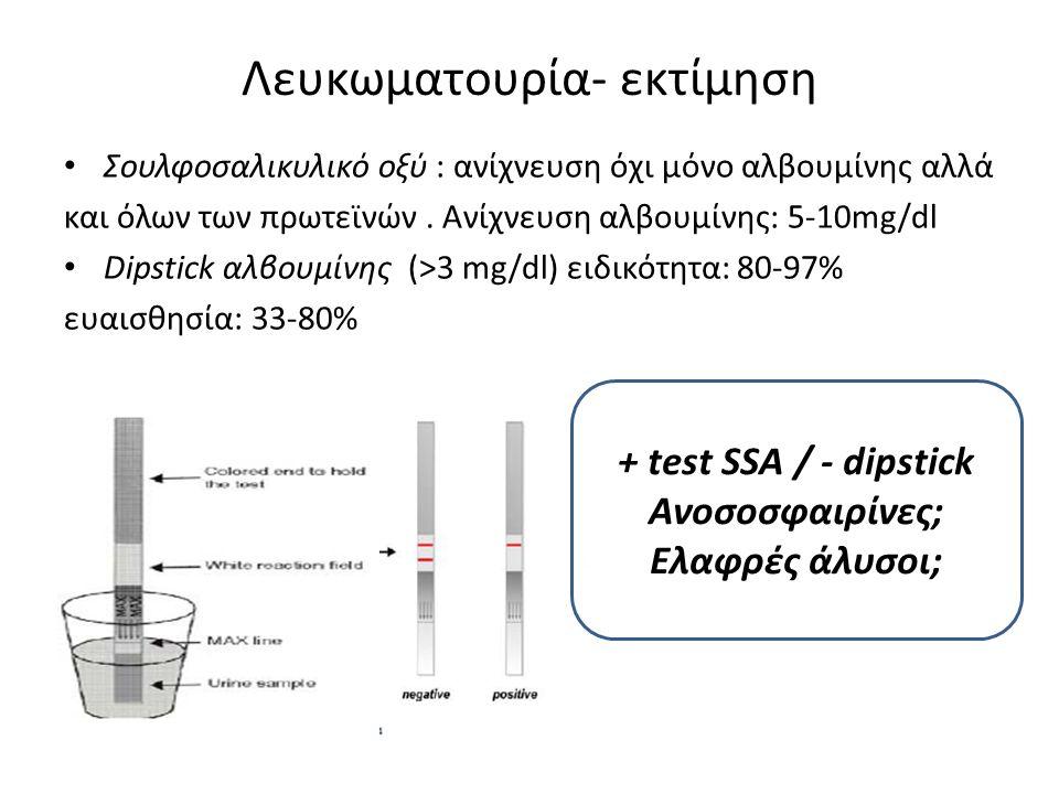 Σουλφοσαλικυλικό οξύ : ανίχνευση όχι μόνο αλβουμίνης αλλά και όλων των πρωτεϊνών. Ανίχνευση αλβουμίνης: 5-10mg/dl Dipstick αλβουμίνης (>3 mg/dl) ειδικ