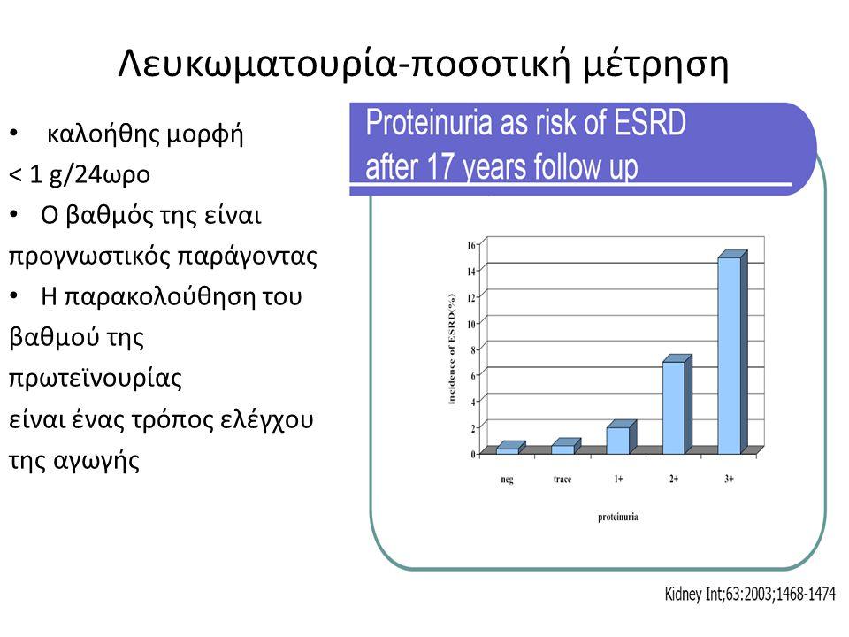 καλοήθης μορφή < 1 g/24ωρο Ο βαθμός της είναι προγνωστικός παράγοντας Η παρακολούθηση του βαθμού της πρωτεϊνουρίας είναι ένας τρόπος ελέγχου της αγωγή