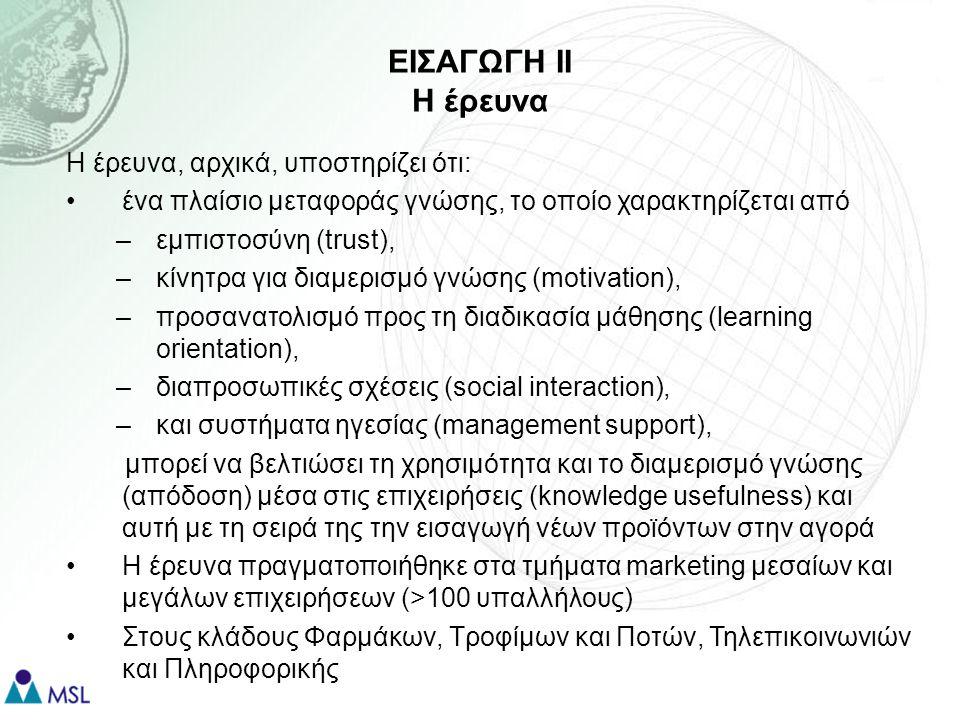 ΘΕΩΡΗΤΙΚΟ ΠΛΑΙΣΙΟ Ι Χρησιμότητα Γνώσης Η Χρησιμότητα Γνώσης (knowledge usefulness) δείχνει την επίδραση που έχει η μεταφορά γνώσης στην απόδοση της επιχείρησης (Levin & Cross, 2004) Η χρησιμότητα γνώσης εξαρτάται από τον βαθμό στον οποίο τα εμπλεκόμενα μέρη βλέπουν τη γνώση ως: –Εποικοδομητική –Ακριβή –Έγκυρη –Αρωγό καινοτομίας Η εισαγωγή νέων προϊόντων και υπηρεσιών στην αγορά αποτελεί δείκτη επιχειρησιακής απόδοσης (Damanpour, 1991) και καινοτομίας (Cohen & Levinthal, 1990; Tsai, 2001; Smith et al, 2005)