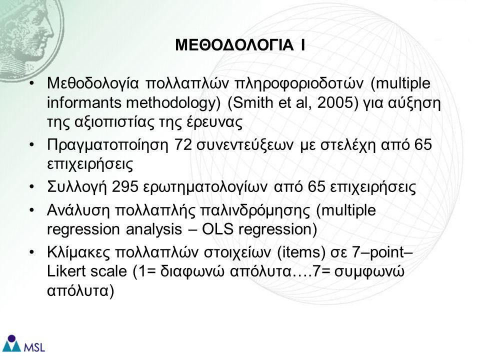 ΜΕΘΟΔΟΛΟΓΙΑ ΙΙ Για να γίνει η άθροιση (aggregation) των ερωτηματολογίων έγιναν πριν στατιστικοί έλεγχοι: –Ιnterrater agreement score r wg (James et al, 1993) για κάθε μεταβλητή (στην έρευνα μας ο μέσος (mean) δείκτης για όλες τις μεταβλητές ήταν >0.70) –Intraclass correlation coefficient: ICC(1) και ICC(2) Internal reliability (α >0.70 σε όλες τις μεταβλητές) Διεξαγωγή Exploratory and Confirmatory Factor Analysis για λόγους εγκυρότητας (validity) της επιλεγόμενης κλίμακας για κάθε μεταβλητή