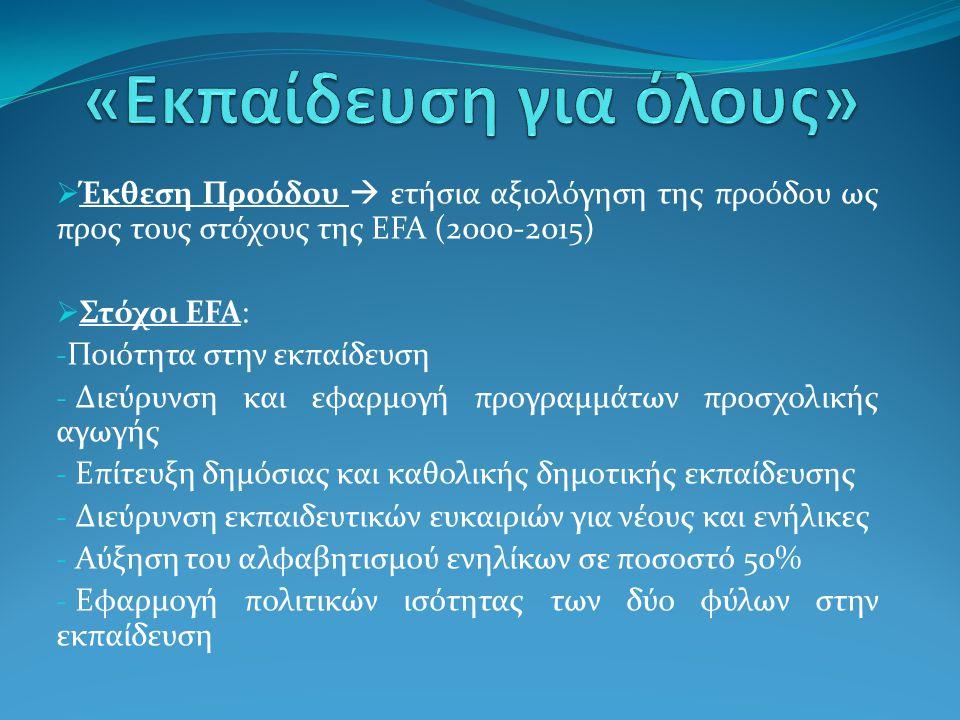  Έκθεση Προόδου  ετήσια αξιολόγηση της προόδου ως προς τους στόχους της EFA (2000-2015)  Στόχοι EFA: - Ποιότητα στην εκπαίδευση - Διεύρυνση και εφα