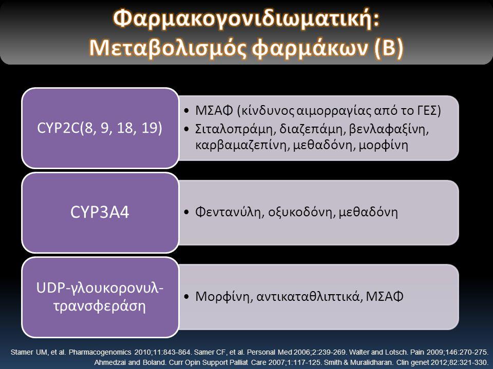 ΜΣΑΦ (κίνδυνος αιμορραγίας από το ΓΕΣ) Σιταλοπράμη, διαζεπάμη, βενλαφαξίνη, καρβαμαζεπίνη, μεθαδόνη, μορφίνη CYP2C(8, 9, 18, 19) Φεντανύλη, οξυκοδόνη, μεθαδόνη CYP3A4 Μορφίνη, αντικαταθλιπτικά, ΜΣΑΦ UDP-γλουκορονυλ- τρανσφεράση Stamer UM, et al.