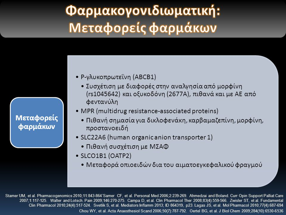 P-γλυκοπρωτεΐνη (ABCB1) Συσχέτιση με διαφορές στην αναλγησία από μορφίνη (rs1045642) και οξυκοδόνη (2677A), πιθανά και με ΑΕ από φεντανύλη MPR (multidrug resistance-associated proteins) Πιθανή σημασία για δικλοφενάκη, καρβαμαζεπίνη, μορφίνη, προστανοειδή SLC22A6 (human organic anion transporter 1) Πιθανή συσχέτιση με ΜΣΑΦ SLCO1B1 (ΟΑΤP2) Μεταφορά οπιοειδών δια του αιματοεγκεφαλικού φραγμού Μεταφορείς φαρμάκων Stamer UM, et al.