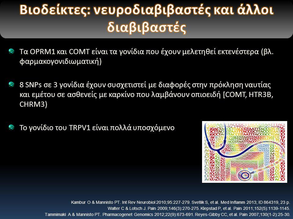 Τα OPRM1 και COMT είναι τα γονίδια που έχουν μελετηθεί εκτενέστερα (βλ.
