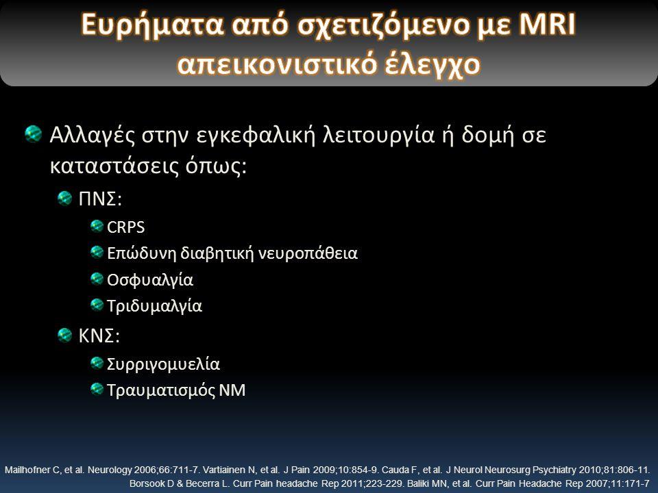 Αλλαγές στην εγκεφαλική λειτουργία ή δομή σε καταστάσεις όπως: ΠΝΣ: CRPS Επώδυνη διαβητική νευροπάθεια Οσφυαλγία Τριδυμαλγία ΚΝΣ: Συρριγομυελία Τραυματισμός ΝΜ Mailhofner C, et al.