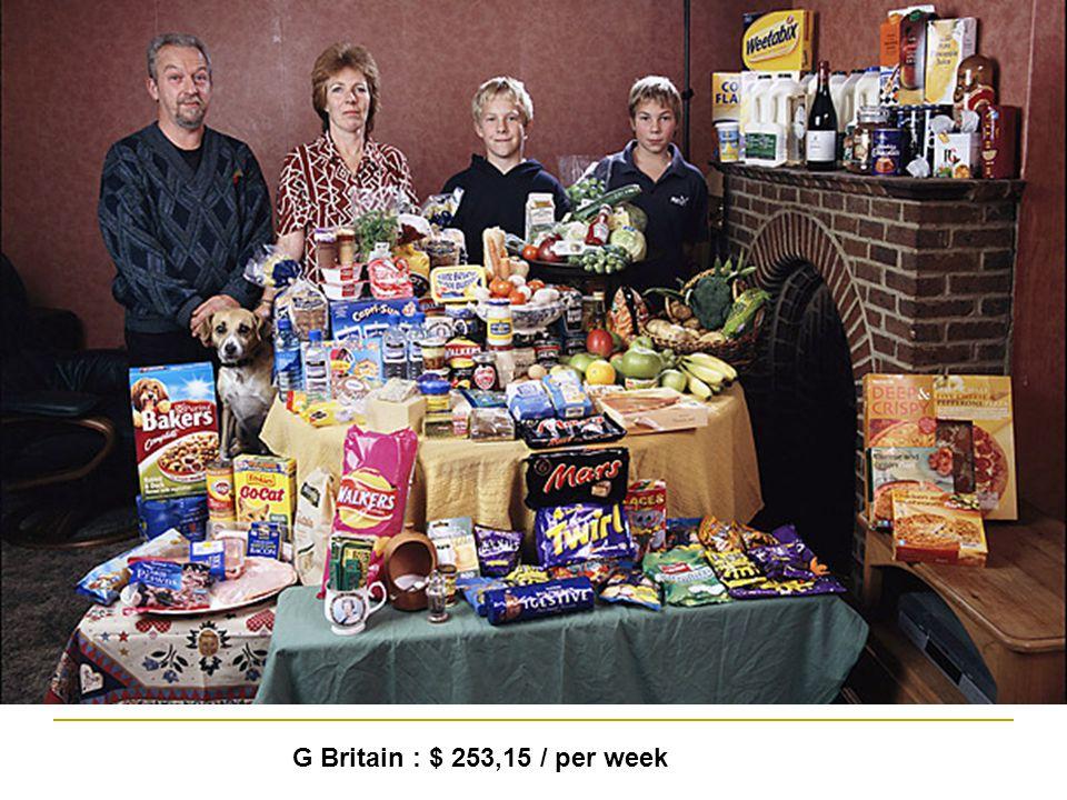 G Britain : $ 253,15 / per week