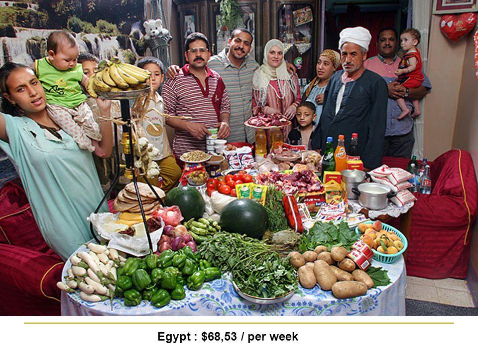 Egypt : $68,53 / per week