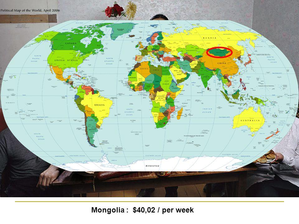 Mongolia : $40,02 / per week