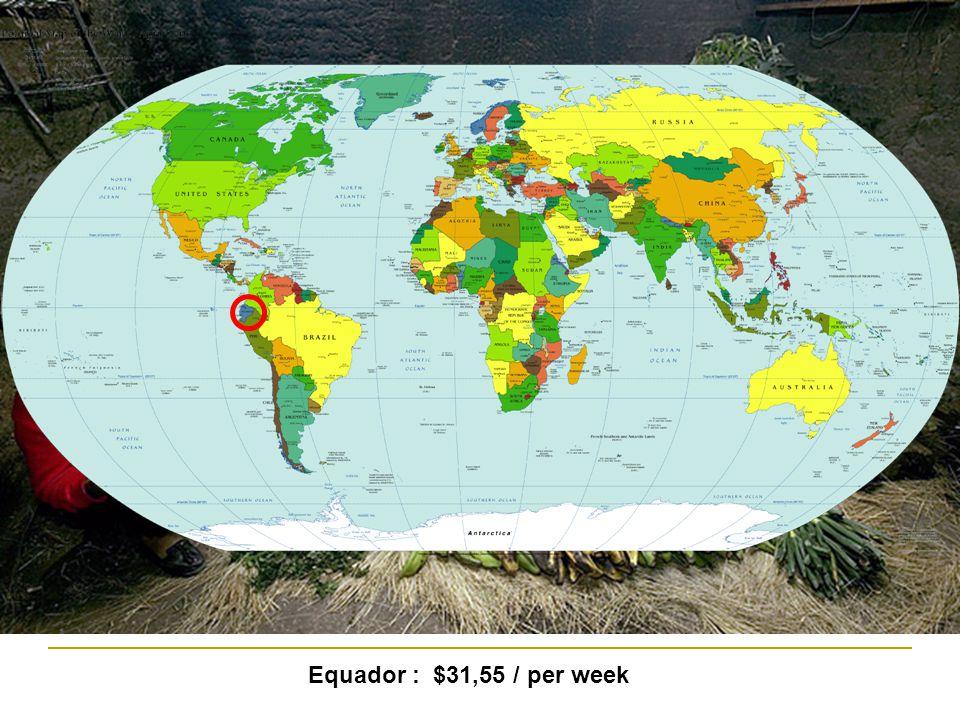 Equador : $31,55 / per week