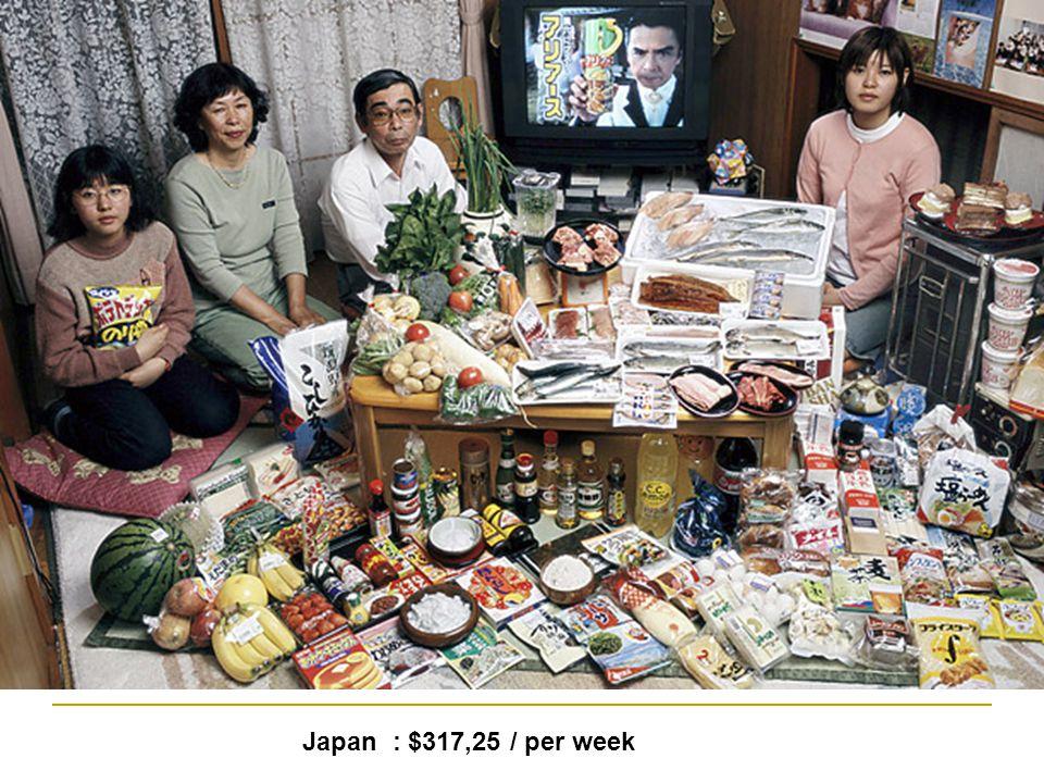 Japan : $317,25 / per week