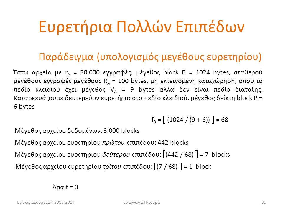 Ευαγγελία Πιτουρά30 Έστω αρχείο με r A = 30.000 εγγραφές, μέγεθος block B = 1024 bytes, σταθερού μεγέθους εγγραφές μεγέθους R A = 100 bytes, μη εκτεινόμενη καταχώρηση, όπου το πεδίο κλειδιού έχει μέγεθος V A = 9 bytes αλλά δεν είναι πεδίο διάταξης.