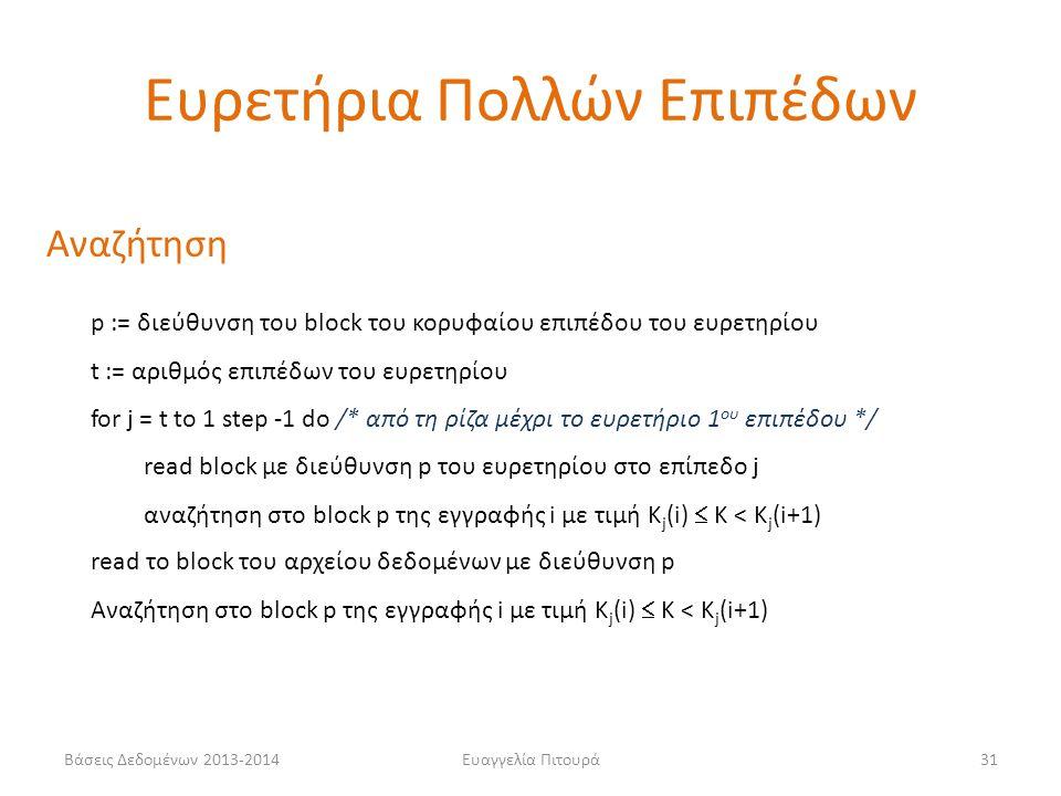 Ευαγγελία Πιτουρά31 Αναζήτηση p := διεύθυνση του block του κορυφαίου επιπέδου του ευρετηρίου t := αριθμός επιπέδων του ευρετηρίου for j = t to 1 step -1 do /* από τη ρίζα μέχρι το ευρετήριο 1 ου επιπέδου */ read block με διεύθυνση p του ευρετηρίου στο επίπεδο j αναζήτηση στο block p της εγγραφής i με τιμή Κ j (i)  K < K j (i+1) read το block του αρχείου δεδομένων με διεύθυνση p Aναζήτηση στο block p της εγγραφής i με τιμή Κ j (i)  K < K j (i+1) Ευρετήρια Πολλών Επιπέδων Βάσεις Δεδομένων 2013-2014